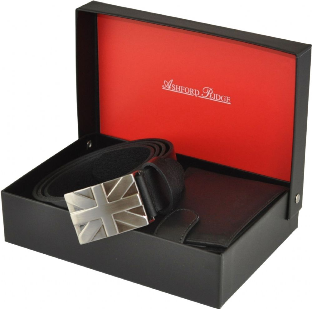 Ashford Ridge Full Hide Union Jack Belt & Wallet Gift Set